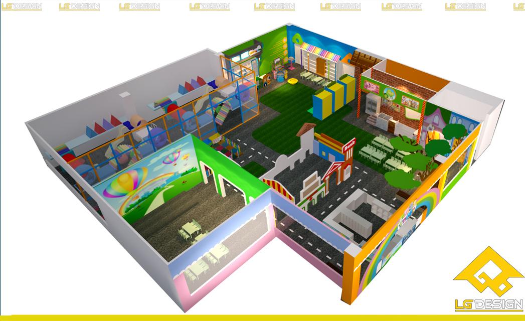 Hình ảnh thiết kế 3D khu vui chơi TiNi Tại Coop Mart Phan Thiết